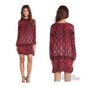 BB Dakota Vasha Viper Print Dress in Red